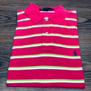 Polo Ralph Lauren Pink & Green Stripe Polo Shirt L